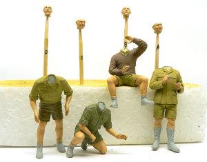 ドイツ・アフリカ軍団 手足の塗装と服の下塗り