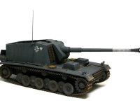 ドイツ・12.8cm重自走砲シュトゥーラ・エミールです。ティガーを開発する途中に作られた試作車輌の廃物利用で2輛だけが作られました。東部戦線で活躍したそうです。