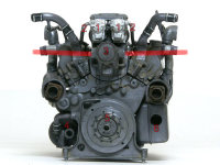 エンジン後側。1:マグニトー点火装置、2:プラグコード、3:冷却ファン駆動ギア、4:オイル加熱用バーナー挿入口、5:外部動力起動装置接続口、6:手動起動用クランクのアクセス用の穴
