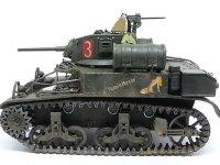 真横から見たスチュアート軽戦車です。戦車にこんな絵を描いてしまうところがアメリカ軍らしいですよね。日本軍でこれやったら銃殺でしょうね。緊急時に取り外せる大きな予備燃料タンクが特徴的です。根本は極細のチェーンを付けてやりました。