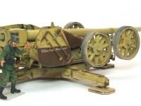 車輪の一部を砲架に取り付け、上げ下げすることで運搬戦闘を切り替えるようになっています。重い砲をリンバーに乗せたり降ろしたりするよりはラクでしょうが、戦闘中に旋回するのに重かったでしょうね。