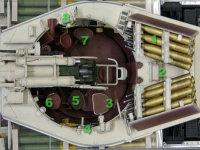 1.砲弾ラック 2.装填用ローラー 3.車長席 4.車長用足かけ 5.砲手席 6.砲塔旋回微調整ハンドルと発射レバー 7.装填手席 8.砲塔の回転をロックするレバー