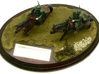 上から見たドイツ・第1騎兵師団です。自立できない馬のためにベースが必要になったので、ヴィネットにしてみました。地面はミラコンです。