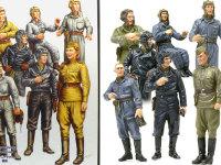 箱絵のイラストをまねて並べてみました。理想的には左の絵のようにイケメン戦車兵の皆さんになるはずだったのですが・・・