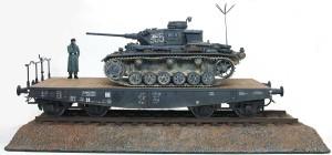 3号指揮戦車K型/4軸平積貨車