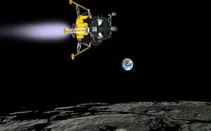 アポロ11号月着陸船 逆噴射で減速して下降