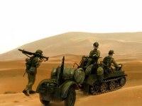 北アフリカの砂漠の写真と合成しました。履帯の跡とかを砂に描き込めればいいのですが、そんなことはできません。