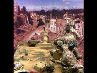 街を見下ろす丘の上で待ちかまえるエレファント重駆逐戦車とLHA師団の兵士たちです。路の向こうからは連合軍の大軍が押し寄せてくるのでしょうか。