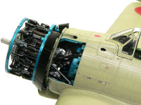 栄12型エンジンの補器類です。ここまで再現されるキットも珍しいので、カバーはピットマルチで仮留めして外せるようにしてあります。