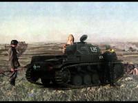 2号線車で偵察をしたかどうかは知りませんが(そりゃ、たぶんしてないでしょ)、戦車から降りて双眼鏡で遠くを見ている様子です。相変わらず背景と色の調子や明るさなどがまったく合っていませんが、それでもこんな写真の中に置くとプラモがグッとリアルに見えるのは製作者の贔屓目でしょうか。←そりゃそうだ(+_+)\バキッ!