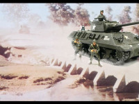 土ぼこりを巻き上げて進軍するM36ジャクソン駆逐戦車です。
