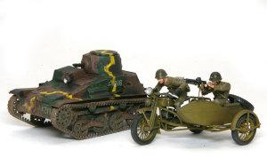 九四式軽装甲車[TK] と 九七式側車付き自動二輪車