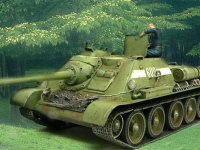 新緑の森の中で休憩するSU-85襲撃砲戦車。いよいよ目前に迫ったベルリン侵攻を前に、小休止です。6年にも及んだ戦争に終止符を打つために。