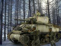 雪の林を進むM4A3E2ジャンボです。以前作ったアメリカ兵2名にも特別参加をしてもらいました。本当は戦車の上にも歩兵をたくさん乗せたかったですね。