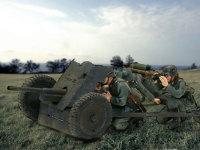 こんな何もない草原で、こんな非力な砲で戦車を迎え撃とうなんて・・・でも、実際に戦場写真でこんなシーンを見ました(怖)。