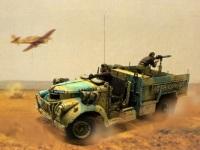 砂煙を上げて猛烈に走りながら機関銃を撃っています。砂煙は付けられたのですが、タイヤがまわっているようにしたり、機関銃が火を噴いているようにはどうすればいいんでしょうね。