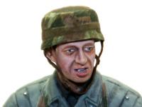 降下猟兵の顔のアップです。顔のモールドも大きく、塗り分けや陰影をつけるのがやりやすかったですね。たれさがったヘルメットの顎紐は鉛の薄板です。