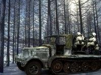 雪深い林の中で連合軍の飛行機を待ち伏せする4連高射砲です。周りの雪原に履帯の跡も足跡も付いていないのは気にしないでください。