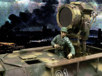 夜襲に備えるSd.kfz.251/20 ウーフーです。暗闇で相手に気付かれることなく1500m先から照らし出すとは、ドイツ軍恐るべしですよね。