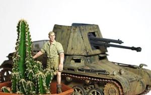 サボテンの鉢植えと1号対戦車自走砲