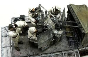 8トンハーフトラック4連高射砲 フィギュアの塗装と配置