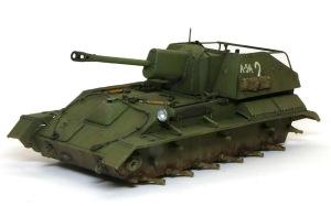 SU-76M自走砲 ウオッシングとドライブラシ