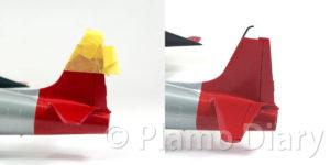 垂直尾翼先端の塗装