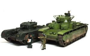 多砲塔戦車(T-35)と多武装戦車(チャーチル・クロコダイル)