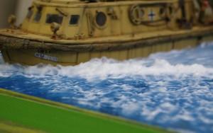Walhai 船首の波