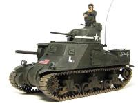 主砲が車体から直接生えている上に、旋回砲塔を載せて、それでも飽き足らず回転式の機関銃のついたキューポラをのせています。なんでそこまでやるの?っていうデザインで、さすがのイギリス軍も一番上のキューポラは取っちゃいました。これがM3グラントとの一番大きな違いですね。あとはフェンダーの形が少し違うのと、サイドスカートの有無、マフラーの形が違いました。でもそれ以外はまるっきりおんなじです。おかげでサクサクと完成にこぎつけました。