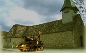 南フランスの農家とM8自走榴弾砲