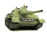 正面から見たSU-85襲撃砲戦車です。履帯はキットに付属の軟質プラのものですが、つなぎ目が目立つ以外はなかなかでしょ。ヘッドライトのレンズは透明プラ板で作りました。