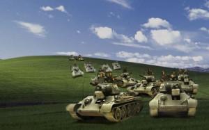 草原を進軍するT34の大軍