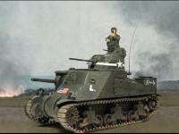 なかなか適当な背景になる写真が無くって苦労します。なら、ジオラマ作れよって言われそうですが、やったことないし・・・面倒そうだし・・・(+_+)\バキッ!今回はフランスの田園地帯を進軍するアメリカ軍のM3リー中戦車です。後ろのほうで戦闘があったようで、火の手が上がっています。その割にはこの戦車、何のダメージも受けていないのが不自然ですよね。次はバトルダメージの研究でもしてみようかな?