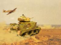 アフリカ軍団仕様ということで、熱砂の砂漠を進撃する様子をデッチあげてみました。地面と全然マッチしていなくて浮いちゃってるように見えるのはご愛嬌です。ごまかす意味も含めて、砂埃を巻き上げてみました。上にはお仲間(タブン)の戦闘機も飛んでいます。それにしても今回はチョット手を抜きすぎたかな(+_+)\バキッ!