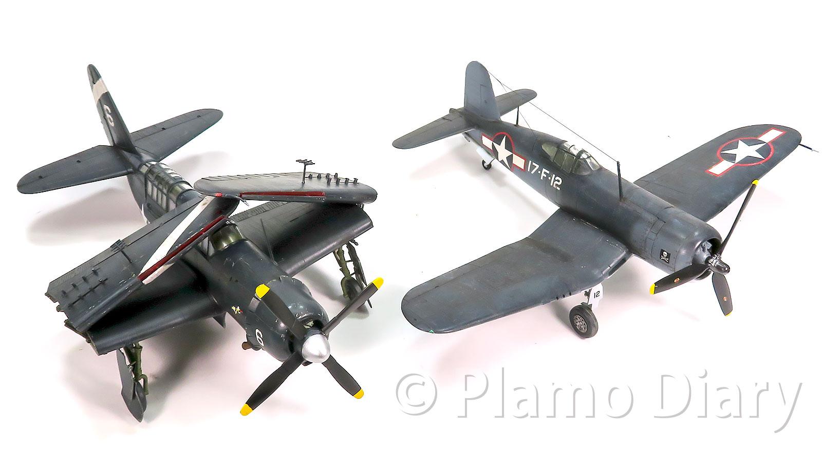 F6UコルセアとSB2C-4ヘルダイバー